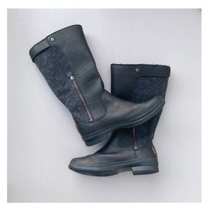 UGG black leather waterproof boots size 7